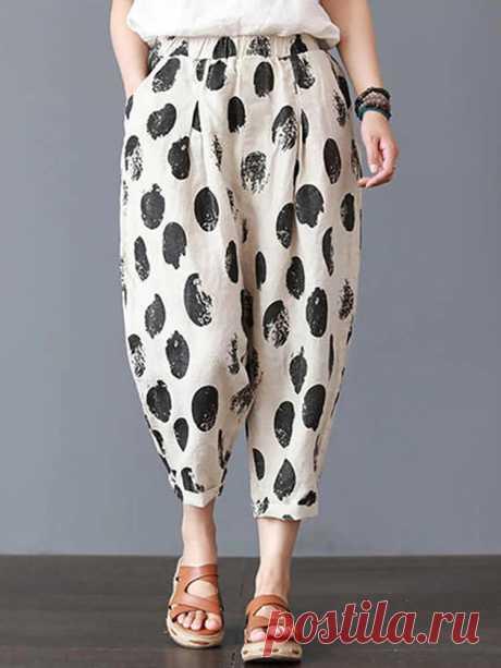 Women Elastic Waist Polka Dot Print Casual Pants - US$20.99
