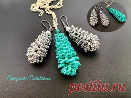 Seed bead Pine Cone || Pine DIY Seed Beads Earrings Pendant Keychain ||