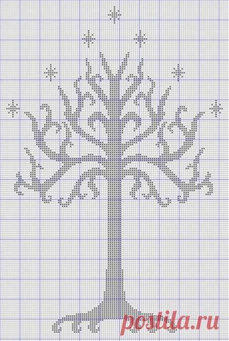 Узор для теневого вязания или монохромной вышивки (деревья). #вязание #вязание_для_женщин #вязание_спицами #схема_узора #теневой_узор Узоры теневого вязания построены на основе лицевых и изнаночных петель. Например, белая клетка - это лицевая, черная - изнаночная.