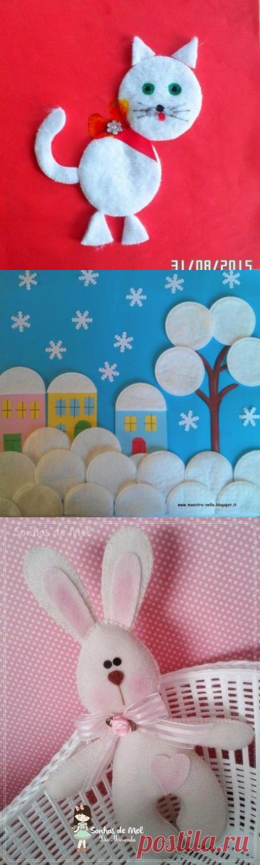 Творчество с детьми. аппликация с использованием цветной бумаги и ватных дисков. — Поделки с детьми