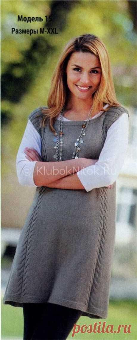 Платье-туника с косами | Вязание для женщин | Вязание спицами и крючком. Схемы вязания.
