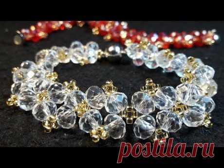 Hermosa Pulsera Con Cristales...Clase#68!!!
