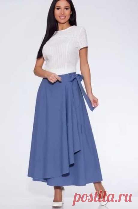 Шьём модную юбку запару часов  Модную в этом сезоне юбку длины миди с запахом, можно сшить всего за пару часов.