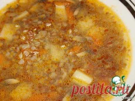 Buckwheat champignons soup - the culinary recipe