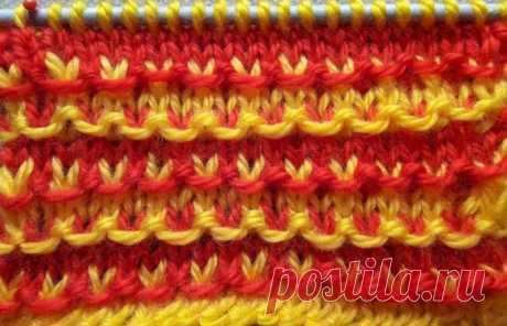 Двухцветный узор спицами для детских шапочек