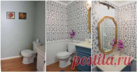 Быстрый ремонт в ванной с помощью удобного трафарета | Краше Всех
