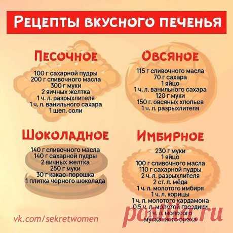 Рецепты вкусного печенья.