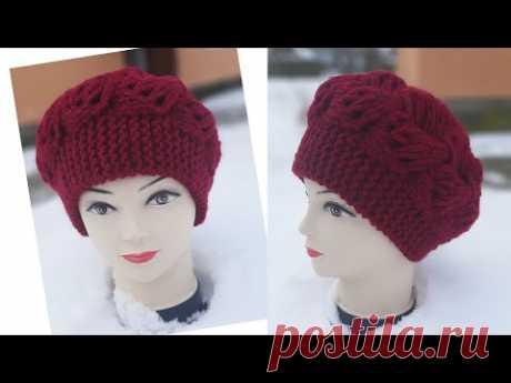 """Супер красива шапка із товстої нитки  з класним візерунком """"Турецька коса""""."""