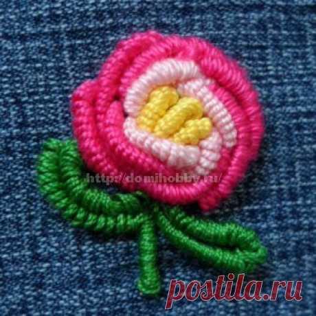 Вышивка рококо - розочка
