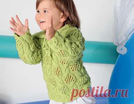 Пуловер с капюшоном для девочки - схема вязания спицами с описанием на Verena.ru