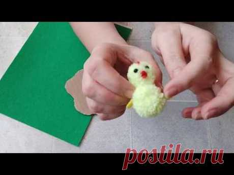 Как сделать пасхальную поделку -  композицию из джута с цыпленком своими руками. DIY/рукоделие