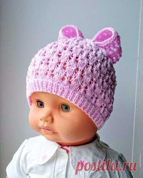 Милая шапочка с бантиком из категории Интересные идеи – Вязаные идеи, идеи для вязания
