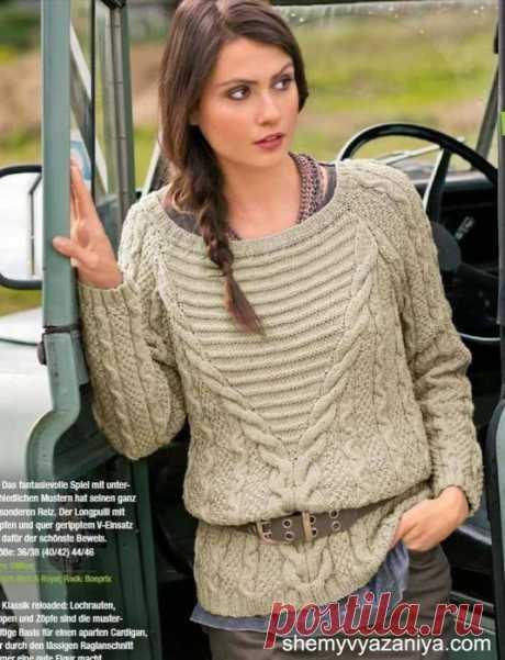 Интересный пуловер с поперечной резинкой и косами