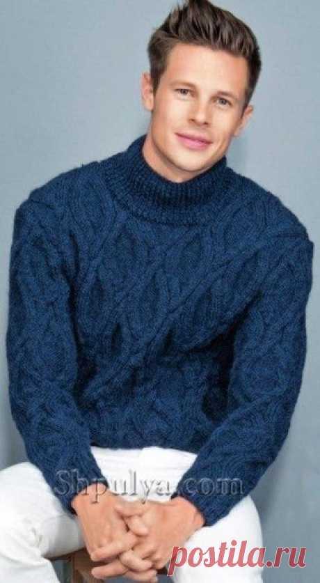 Вязаный мужской свитер с фантазийным узором  #вязание #спицами #длямужчин #араны Размеры: 1 (на 14 лет)/2 (маленький)/3 (средний)/4 (большой) Вам потребуется: 19/20/22/24 мотка тёмно-синей (1185) пряжи Bouton D'Оr Cocoon (60% альпака, 40% шерсти, 75 м/50 г); спицы № 4 и 4,5; 1 вспом. спица.  Узоры для вязания мужского свитера спицами  Показать полностью…