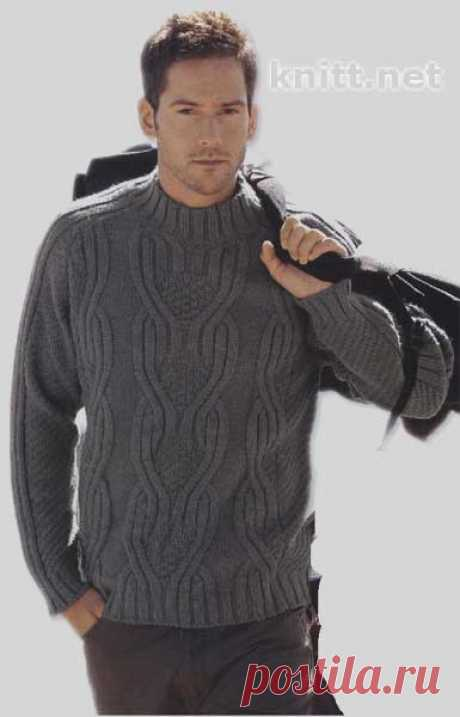 Пуловер-реглан серого цвета спицами