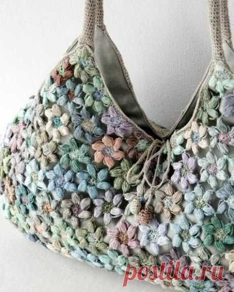 Идеи вязания сумок из небольших цветочных мотивов.   Вяжем крючком с  Ольгой Ингрией   Яндекс Дзен
