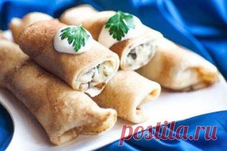 Как приготовить блинчики с начинкой из картофеля и грибов - рецепт, ингредиенты и фотографии