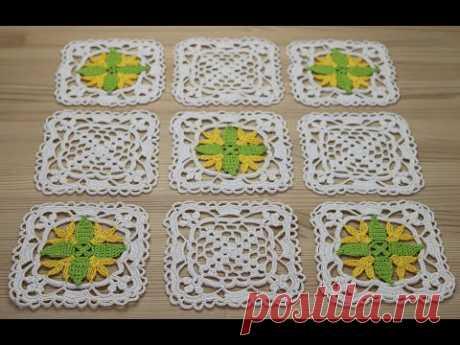 Вязание КВАДРАТНОГО МОТИВА с цветком Flower Square Crochet Motif How To Crochet A Granny Square