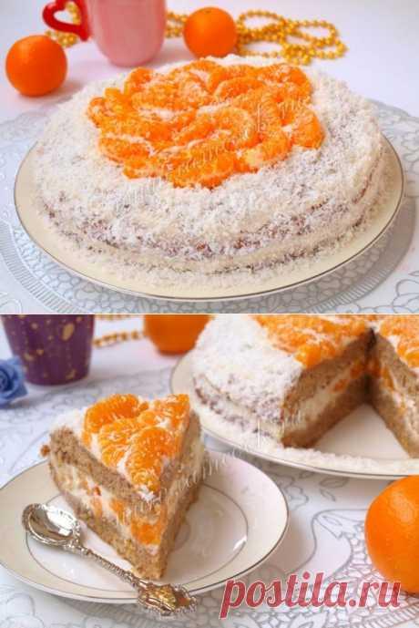 Торт с мандаринами, рецепт с фото.