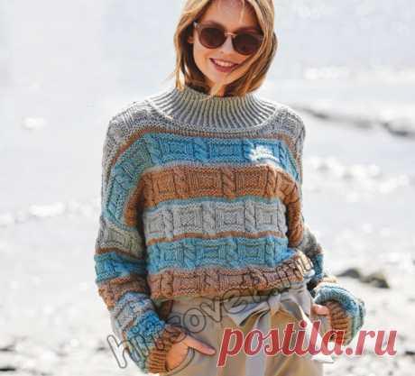 Вязаный полосатый свитер рельефным узором - Хитсовет