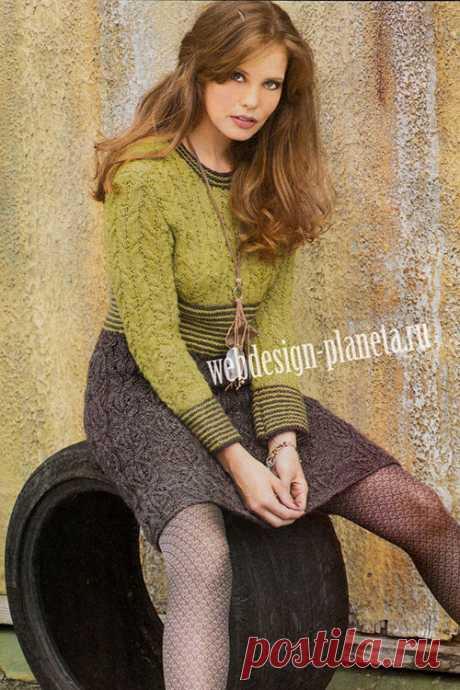 Двухцветное платье спицами с ажурными косами | Вязание спицами, вязание крючком | Мир вязания