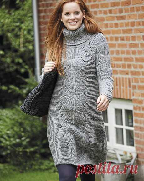 """Теплое вязаное платье с узором """"Веер"""" из категории Интересные идеи – Вязаные идеи, идеи для вязания"""