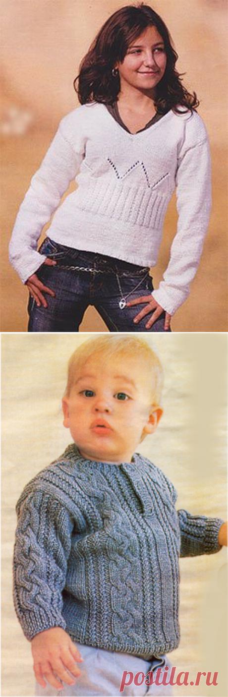 Схема вязания спицами, свитер с косами на мальчика 2-3 года.
