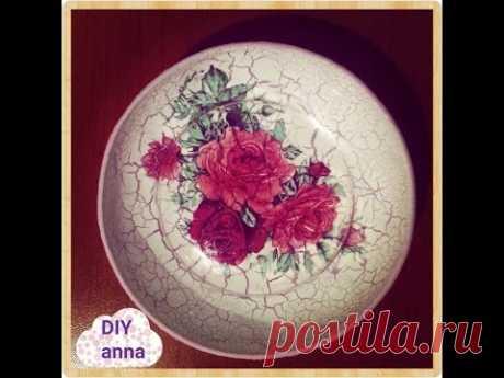 reverse crackle decoupage on plate roses decorations DIY ideas craft tutorial\/URADI SAM Dekupach