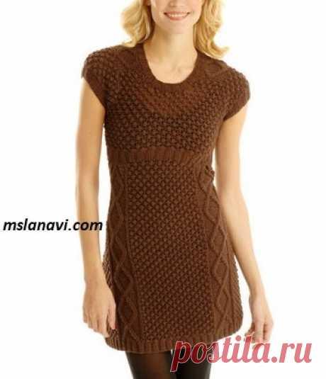 Платье спицами с ажурным узором | Вяжем с Лана Ви