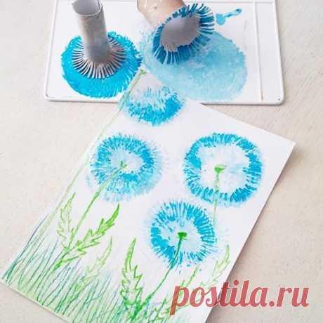Нетрадиционные техники рисования. рисуем одуванчики картонными втулками. — Поделки с детьми