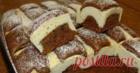 Пирог «Подушки» — объеденье   Очень вкусное сочетание шоколадного теста и творожного. Пирог получается довольно пышным и невесомым. Смотрится очень эффектно. В разрезанном виде похож на пирожные. Для...