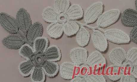 Цветок крючком с лепестками тунисского вязания