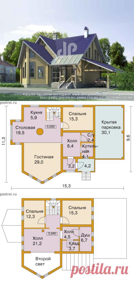 Проект бревенчатого дома № C-163-1D