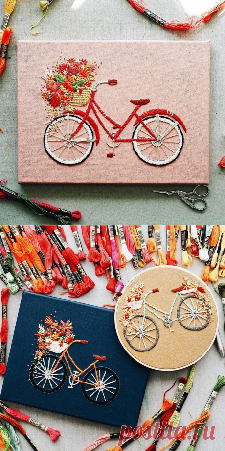 Charming bicycle embroideries