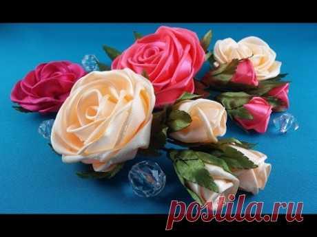 Rose of whole ribbon. Tutorial\/Rose de una cinta entera. CM\/la Rosa de entero ленты.MK