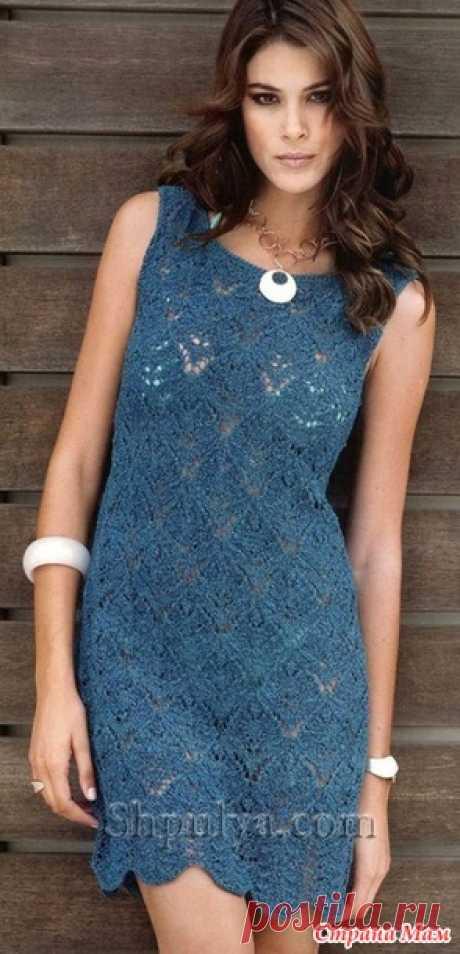 Синее ажурное платье спицами - Вязание - Страна Мам