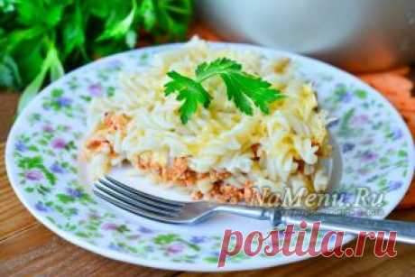 Macaroni casserole in the crock-pot, the recipe with a photo step by step with forcemeat