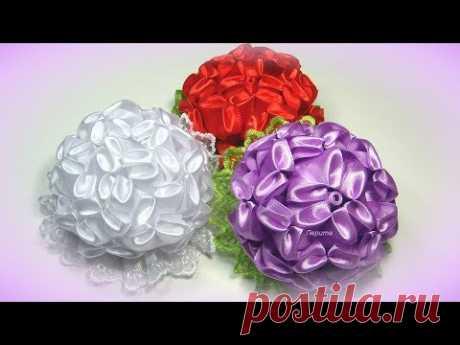 Цветы из атласных лент, школьные канзаши МК / diy satin ribbon flower, kanzashi