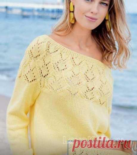 Пуловер с открытым плечом и ажурной кокеткой схема спицами » Люблю Вязать