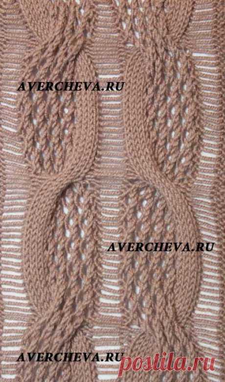 Узор спицами ажурная коса с полоской из спущенных петель | каталог вязаных спицами узоров