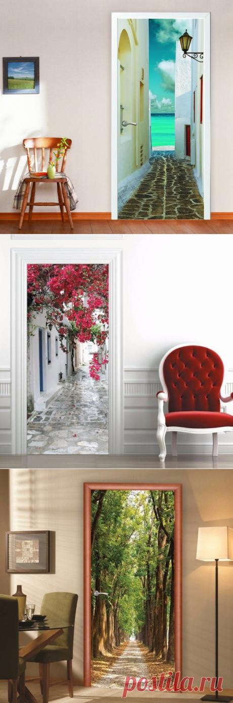 Оригинальный декор и обновление двери с помощью фотообоев