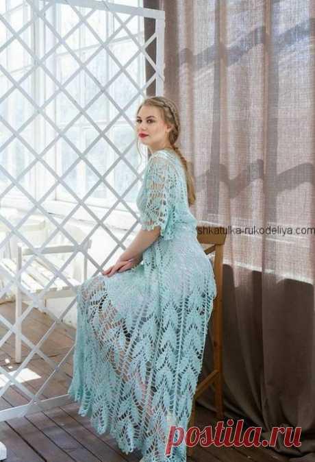 Летнее платье крючком. Длинное женское платье узор листочки   Шкатулка рукоделия. Сайт для рукодельниц.