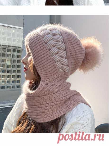 Новинка 2021, модная женская зимняя теплая шапка из кроличьего меха с шарфом, женские защитные уши, вязаные шапочки, облегающие шапки | Аксессуары для одежды | АлиЭкспресс