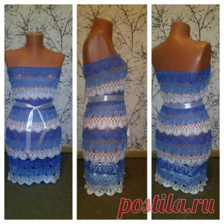 Пляжное платье в морском стиле крючком.