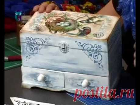Декупаж. Декорируем комодик используя краски на основе воска. Мастер класс. Наташа Фохтина