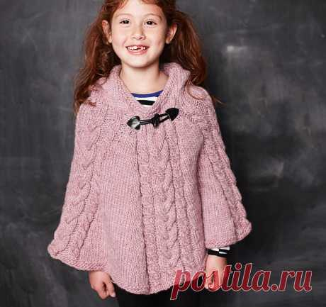 Пончо с капюшоном для девочки - схема вязания спицами. Вяжем Пончо на Verena.ru