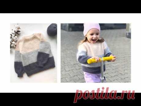 Часть1:Как связать спицами свитер регланом сверху для девочки из пуха норки/ангора