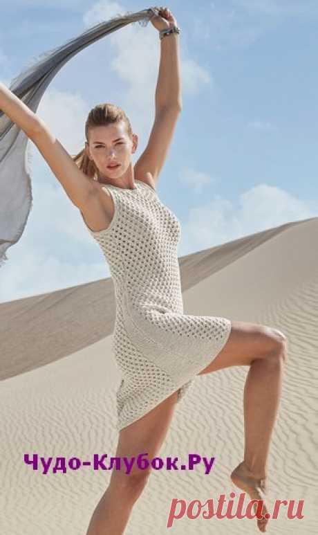 Платье с прозрачным ажурным узором вязаное спицами 845 |