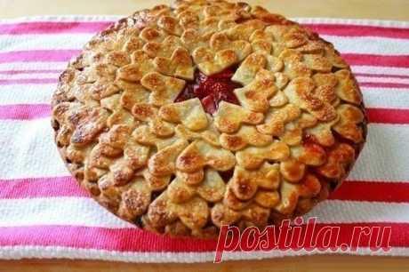 Как приготовить клубничный сердечный пирог  - рецепт, ингредиенты и фотографии