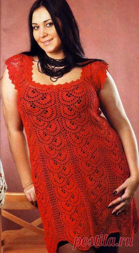 Красное ажурное платье. Летние модели для полных, связанные крючком